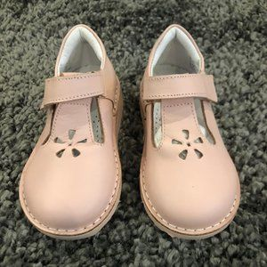 Girls Kid Express Light Pink Leather Velcro Shoes